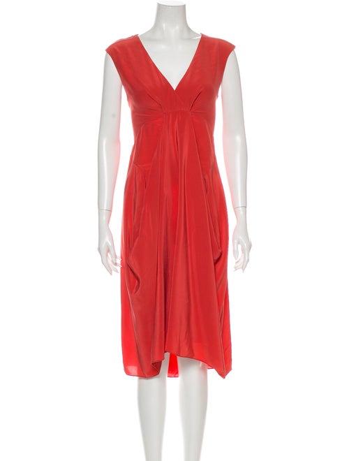 Donna Karan Silk Midi Length Dress Pink