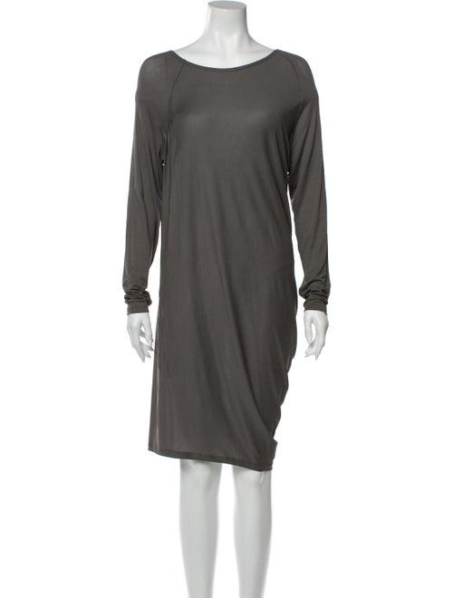 Donna Karan Scoop Neck Midi Length Dress Grey