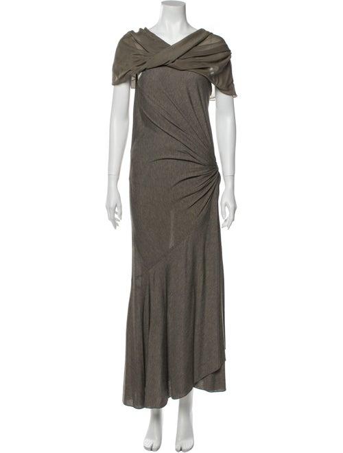 Donna Karan V-Neck Long Dress Grey