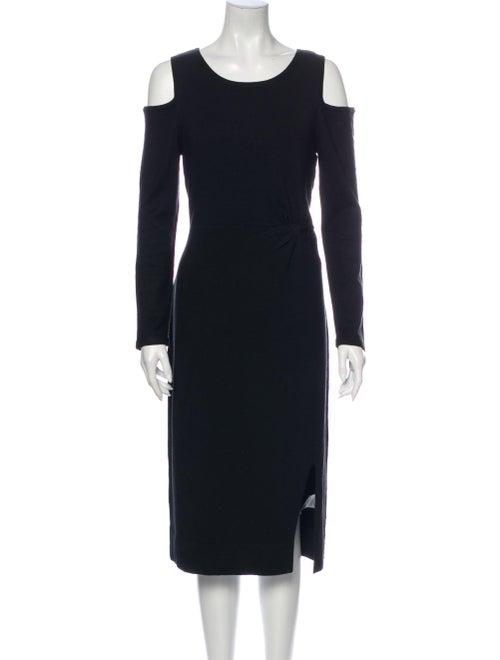 Donna Karan Scoop Neck Midi Length Dress Black