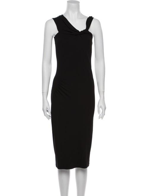 Donna Karan V-Neck Midi Length Dress Black