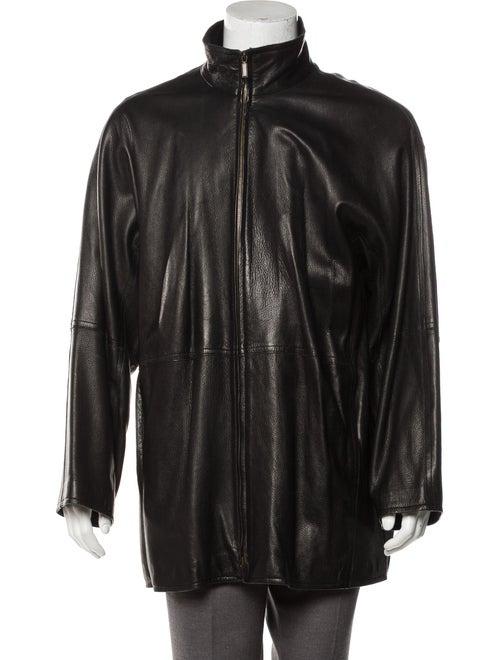Donna Karan Leather Woven Jacket black