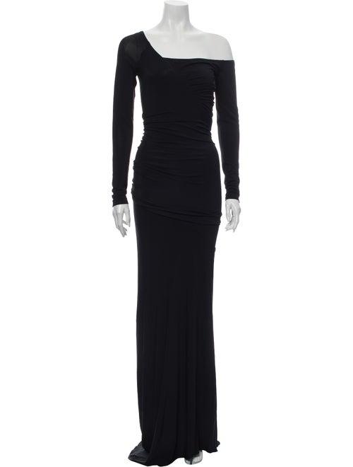 Donna Karan One-Shoulder Long Dress Black