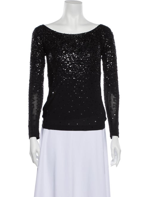Donna Karan Bateau Neckline Long Sleeve Top Black