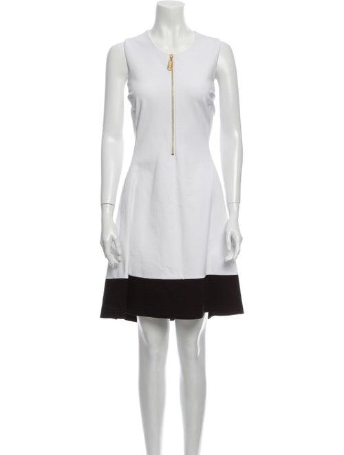 Donna Karan Crew Neck Knee-Length Dress w/ Tags Wh