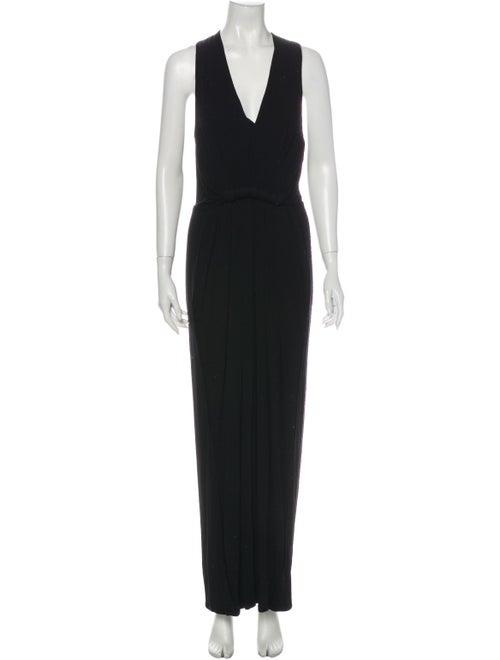 Donna Karan V-Neck Long Dress Black