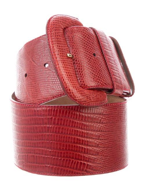 Donna Karan Leather Wide Waist Belt Red