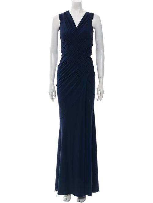 Donna Karan V-Neck Long Dress Blue