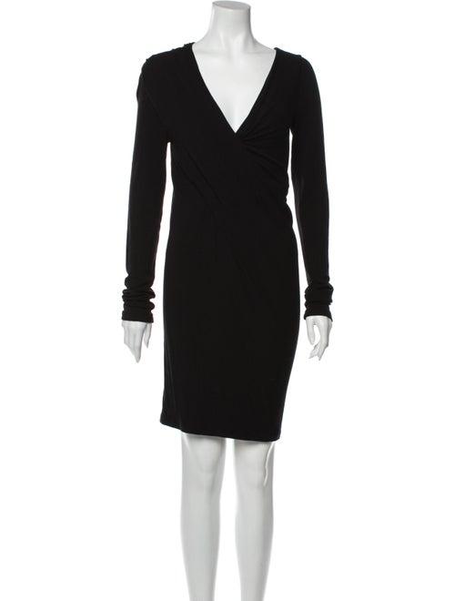 Donna Karan V-Neck Mini Dress Black