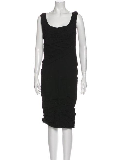 Donna Karan Linen Midi Length Dress Black