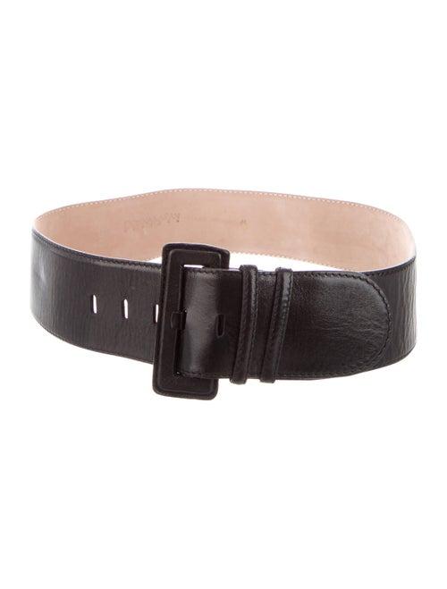 Donna Karan Leather Wide Waist Belt Black