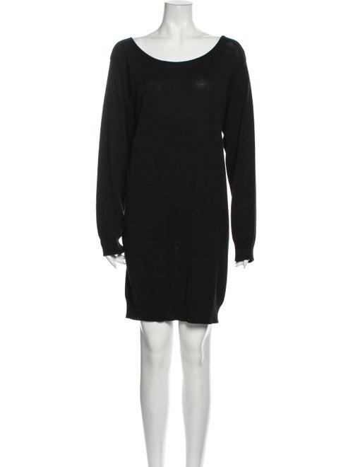 Donna Karan Scoop Neck Mini Dress Black