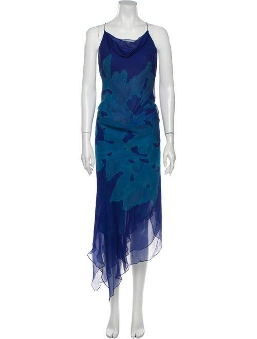 Donna Karan Silk Long Dress Blue