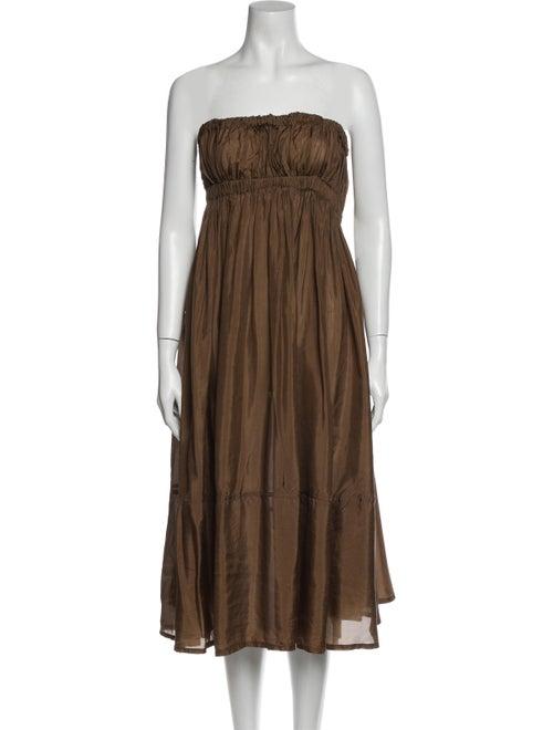 Donna Karan Strapless Long Dress Brown