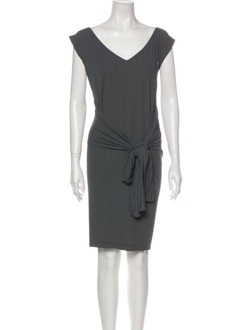 Donna Karan V-Neck Mini Dress Grey