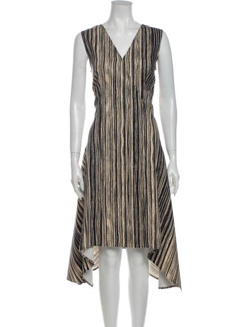 Donna Karan Striped Knee-Length Dress Blue