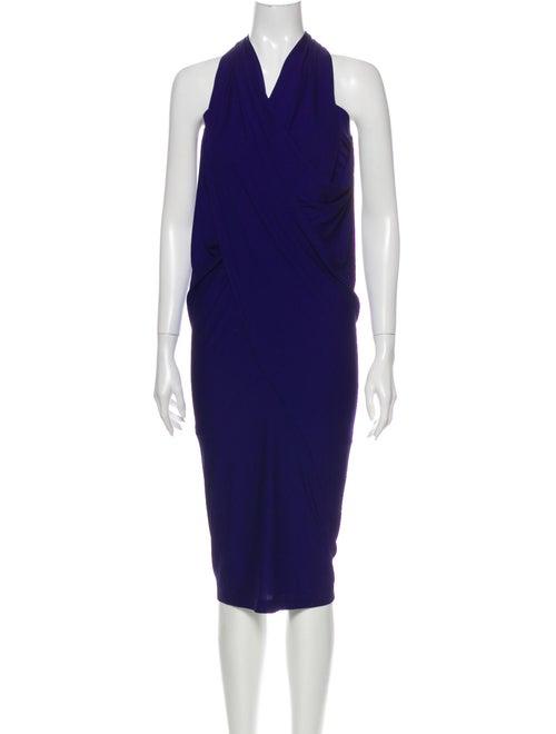 Donna Karan Cowl Neck Mini Dress Blue