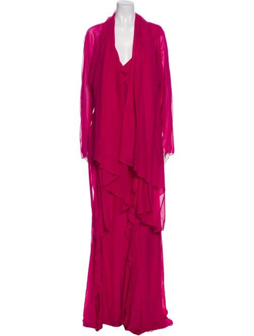 Donna Karan Silk Long Dress Pink