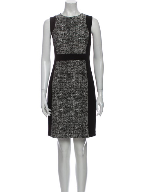 Donna Karan Colorblock Pattern Mini Dress Black