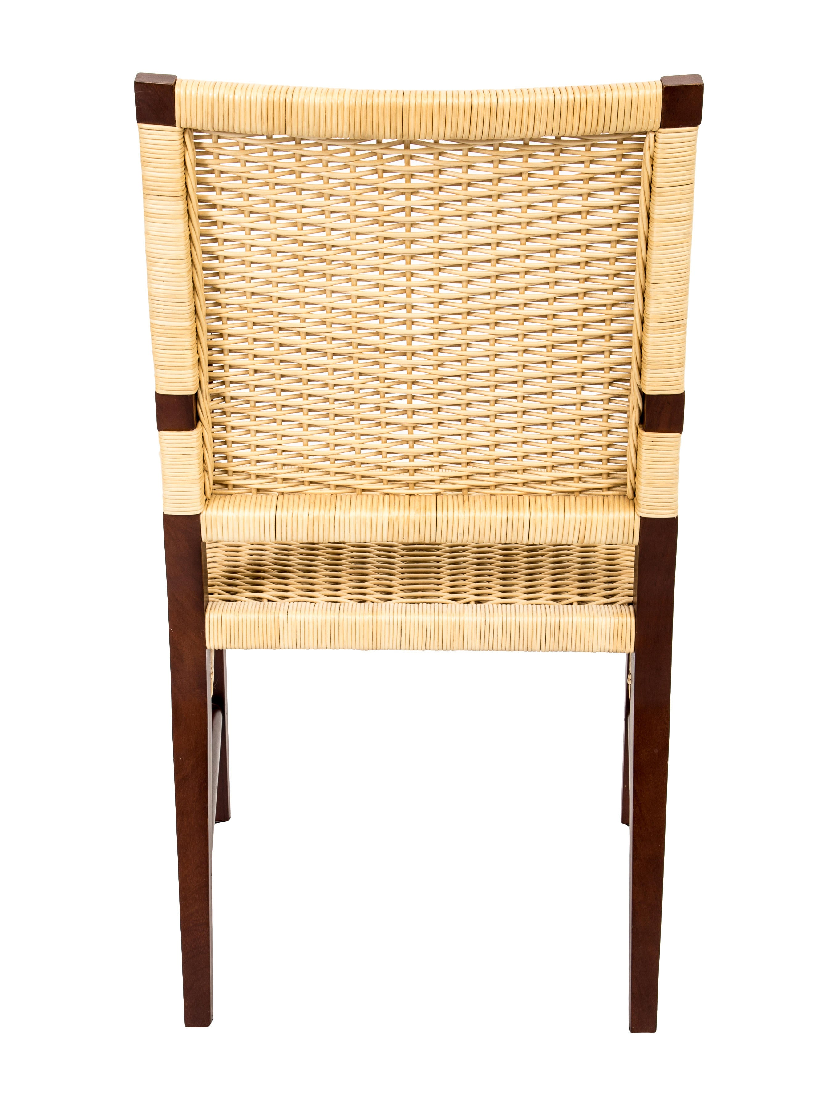 Donghia Merbau Wood Amp Wicker Dining Chairs Furniture
