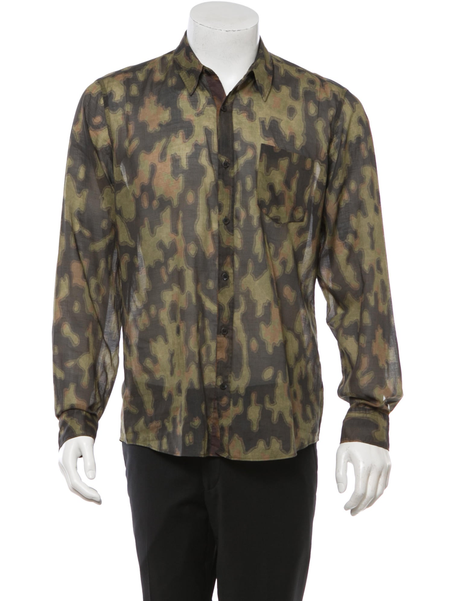 Dries Van Noten Camouflage Button Up Shirt Clothing