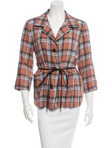 Dries Van Noten Plaid Button-Up Top None