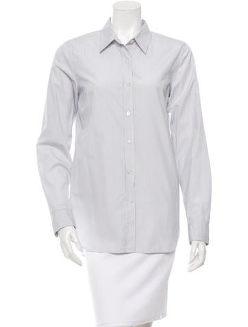 Dries Van Noten Pinstripe Button-Up Top None