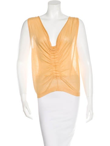 Dries Van Noten Sleeveless Ruched Top None