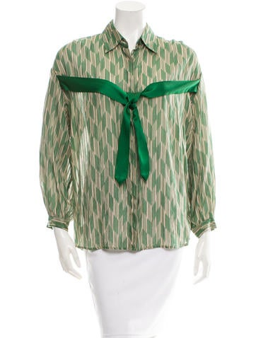 Dries Van Noten Silk-Blend Button-Up Top None