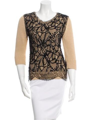 Dries Van Noten Sequin Lace Overlay Sweater None