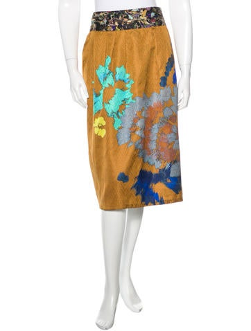 Dries Van Noten Printed Silk Skirt