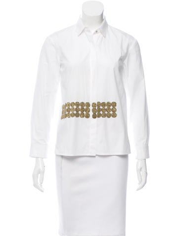Dries Van Noten Embroidered Button-Up Top None