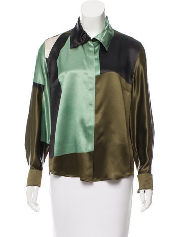 Dries Van Noten Silk Button-Up Top None