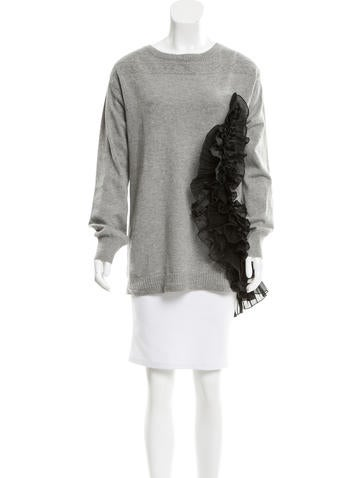 Dries Van Noten Cashmere Ruffle-Accented Sweater None