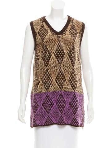 Dries Van Noten Wool Sleeveless Sweater None