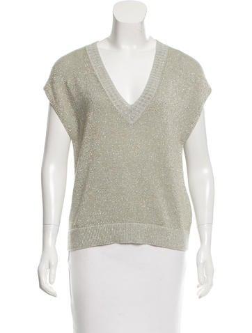 Dries Van Noten Metallic Sleeveless Sweater None