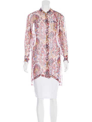 Dries Van Noten Metallic Abstract Print Top None
