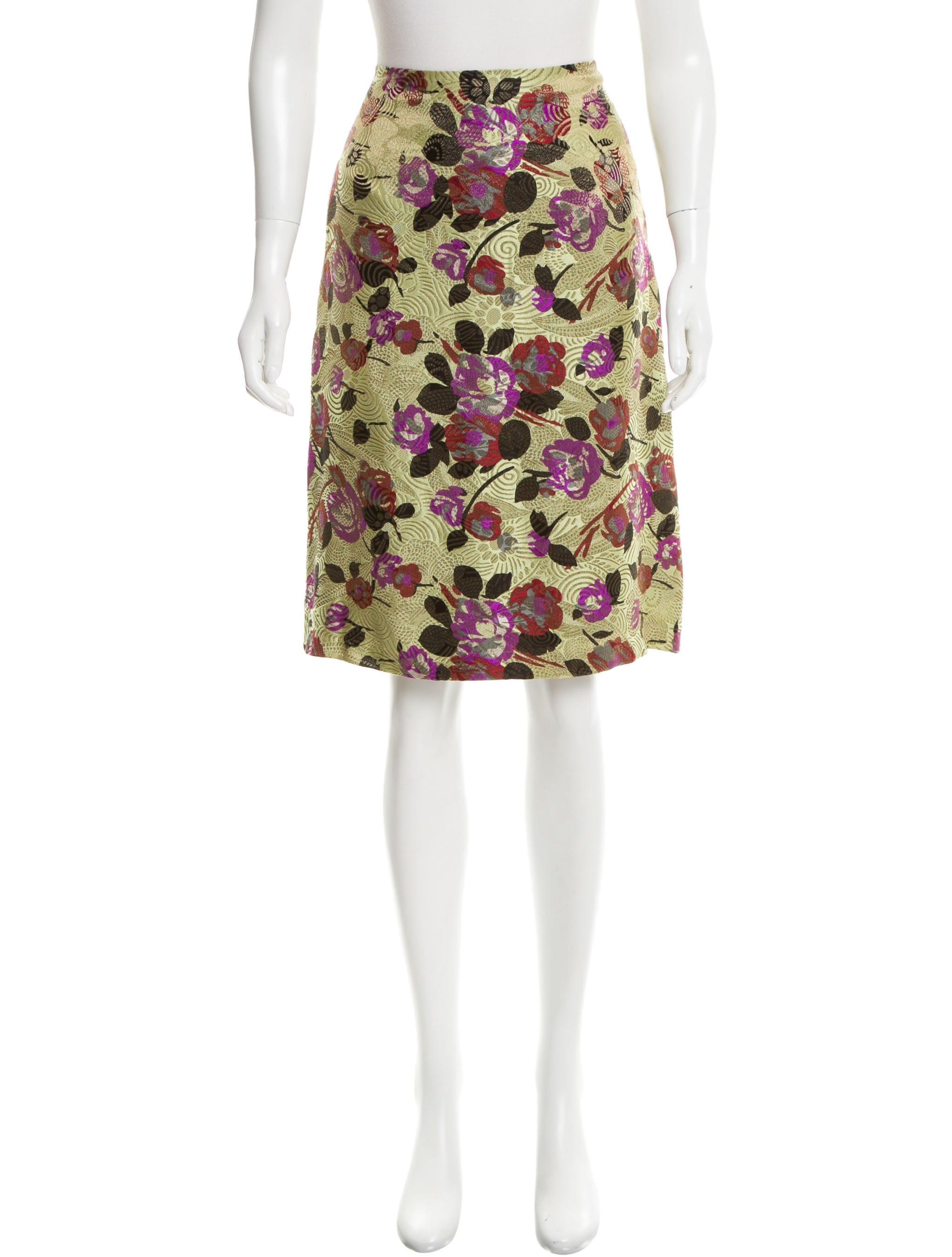 dries noten floral jacquard knee length skirt