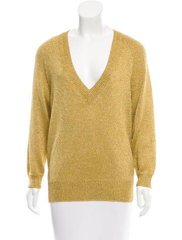 Dries Van Noten V-Neck Lurex Sweater None