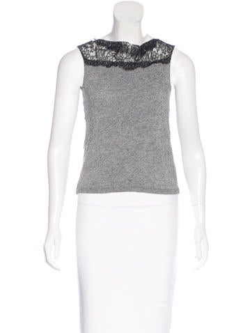 Dries Van Noten Lace-Trimmed Sleeveless Top None