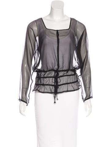 Dries Van Noten Sheer Silk Top None