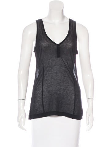Dries Van Noten Sheer Sleeveless Top None