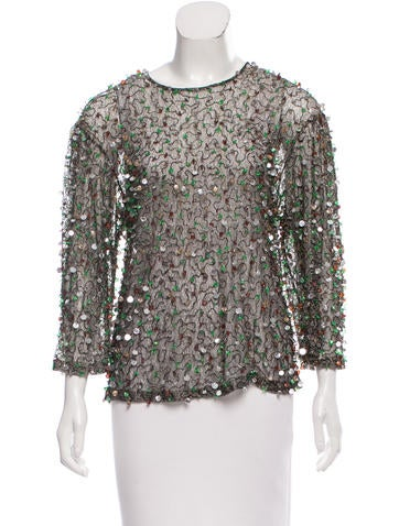 Dries Van Noten Embellished Sheer Top None