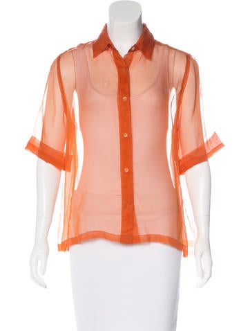 Dries Van Noten Sheer Button-Up Blouse None