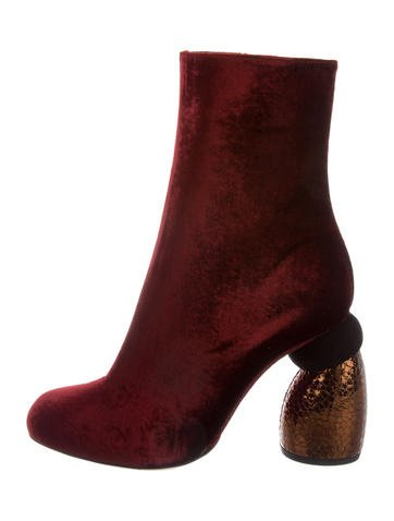 Dries Van Noten Velvet Round-Toe Ankle Boots w/ Tags None