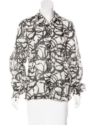 Dries Van Noten Printed Button-Up Top None