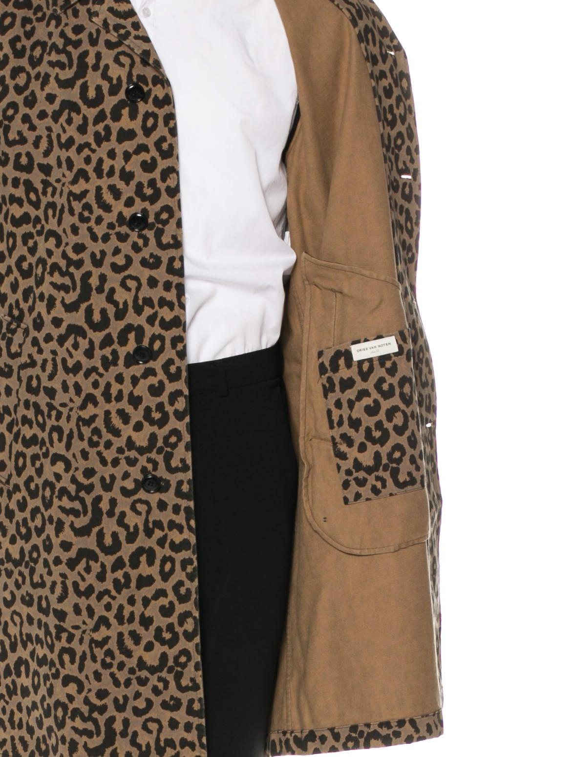 Dries Van Noten Leopard Print Notch-Lapel Coat - Clothing - DRI42332 | The RealReal