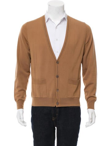 Dries Van Noten Wool Rib Knit Cardigan None