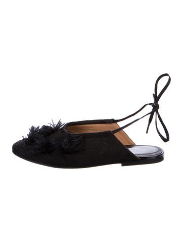 Dries Van Noten Wrap-Around Pom Pom Flats None