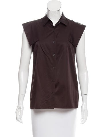 Dries Van Noten Cap Sleeve Button-Up Top None